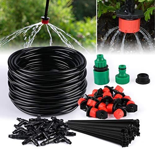 TedGem Kit de riego por goteo, sistema de riego automático DIY con riego Microaspersión y mangueras de 20 m, para jardín jardín jardín de césped