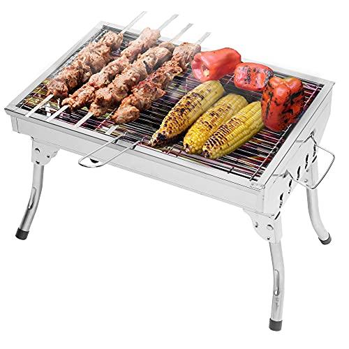 Barbecue portatile a carbonella per cucinare all'aperto – Barbecue pieghevole per l'uso in cortile, terrazze, campeggio e esterni – Griglia in acciaio inox – 46 x 31 x 32 cm – 1,9 kg