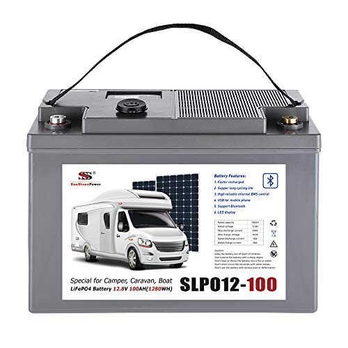 Sunstone Power LiFePO4 12V 100Ah Lithiumbatterie Smart Bluetooth BMS und LED-Anzeige USB-Buchse. Power RV, Boot, Camping oder Solarbatterie