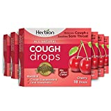 Herbion Naturals Cough Drops with Cherry Flavor – 18 Ct –Oral Anesthetic- Relieves Cough - Soothes Sore Throat and Dry Mouth – Eases Bronchial Irritation - for Adults, Children 6+ | Pack of 6 |