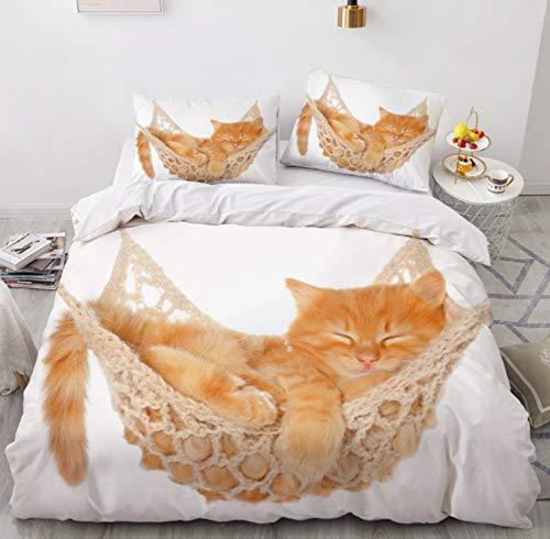 RTSE Bettbezug, Tiere, Katzen, Igel, Bettwäsche, Bettbezug, 3D-Aufdruck, Mikrofaser, weich und bequem, für Kinder und Jugendliche (Einzelbett, 140 x 210 cm)