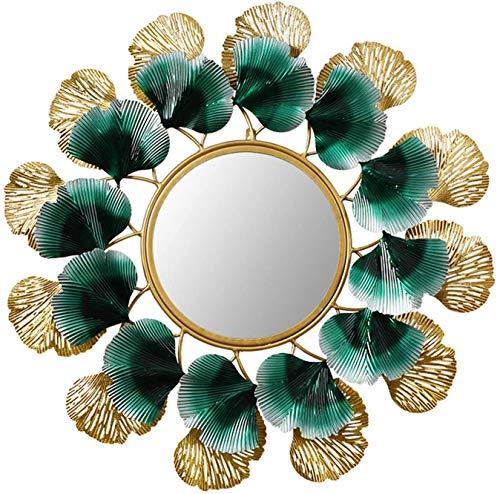 LSNLNN Espejos, Espejo Brillante Ilustración Arte Diseño Redondo Espejo, Sofá Fondo Pared Espejo Decorativo Simplicidad Dorado Pared Montaje en Pared Moderno Oficina Dormitorio Adornos Maquillaje Y E