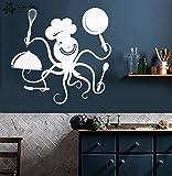 Ajcwhml Calcomanía de Pared de Cocina Divertido Pulpo Chef con ollas y sartenes patrón Restaurante Pegatinas de Pared de Vinilo diseño Moderno decoración de Animales 54x63cm