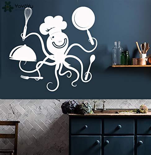 zhuziji Küche Wandtattoo lustige Tintenfisch Chef mit Töpfen und Pfannen Muster Restaurant Vinyl Wandaufkleber modernes Design Tierdekoration 50x58cm