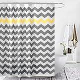 Raymall Grau-gelber Duschvorhang mit grauem Zickzack-Streifen, Chevron-Muster, 183 x 183 cm, wasserdichter Polyester-Stoff mit Haken für Badezimmer-Dekor (Zickzack-Gelb)