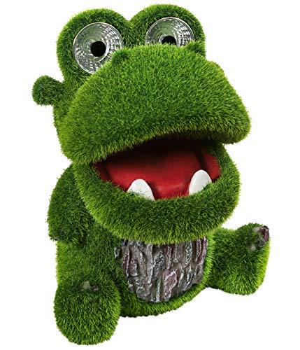 Dehner Dekofigur Solarleuchte Hippo Happy, ca. 19 x 15 x 14.5 cm, Kunststoff/Polyresin, grün
