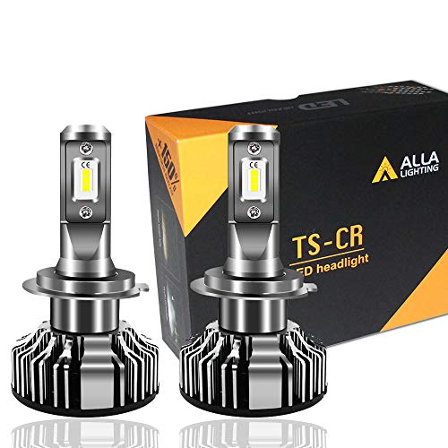 Alla Lighting 10000lm LED H7 Headlight Bulbs Extremely Super Bright TS-CR H7 LED Headlight Bulbs Conversion Kits H7 Bulb, 6000K Xenon White (Set of 2)