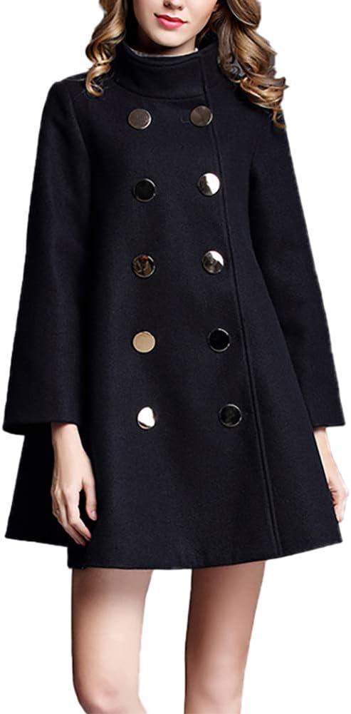 BIXUYAO Pea Coats for Women/Wool Blended Coat Mid-Long Solid Color Dresses Standing Collar Coat,Navy,L