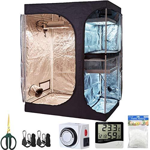 TopoLite Grow Tent Kit 60'x48'x80' 2-in-1 Indoor Plants Dark Room+2Pcs Grow Light Hangers+1-Pack 5x15ft Plant Trellis Netting+1Pcs Timer+1Pcs 60mm Bonsai Shear+1Pcs Thermometer Hygrometer