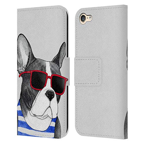 Head Case Designs Officially Licensed Barruf Frenchie Summer Style Dogs Leather Book Wallet Case Cover Compatible with Apple Touch 6th Gen / Touch 7th Gen