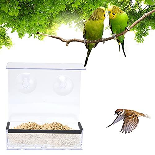 LZKW Vogelfutterspender, Futterspender für Haustiere transparent leicht zu reinigen für den Innen- und Außenbereich