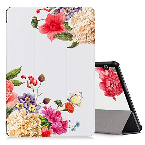 ZhuoFan Cover Huawei Mediapad T5 10 con Funzione Stand, Trifold Flip Case Custodia PC e PU Pelle con Print Pattern per Huawei Mediapad T5 10 AGS2-W09/L09/L03/W19, Supporto Auto Sonno/Sveglia, Fiore