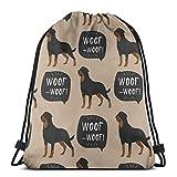 Green Haoke Perro Rottweiler Animales Coloridos Fauna Salvaje Gimnasio Bolsa de Sacos Mochila con Cordón Bolsa Deportiva para Hombres y Mujeres Mochila de Viaje Escolar 17×14 Pulgadas