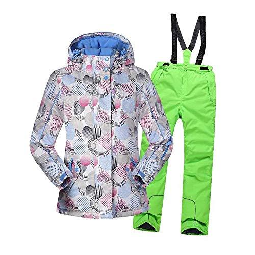 Girls' Skianzug 2-teiliges Set Verdicken Warme Kapuzen Ski Snowsuit Jacket + Pants Beste Für Winter Snowboard G- Height 146
