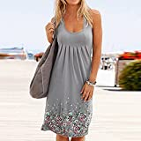 baskuwish Women's Summer Sleeveless Racerback Loose Swing Dress Floral Print Midi Dresses Gray