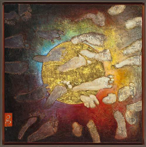 """""""BERÜHRUNG"""", Gemälde, Öl auf Leinwand, auf Keilrahmen aufgezogen, in handbemaltem Schattenfugenrahmen,60x60x3 cm,mit Signum, alle Rechte liegen bei der Künstlerin"""