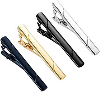 MeterMall 4 Pcs Fashion Simple Necktie Clips Tie Bar Clips Tie Pins Set Black, Silver, Navy Blue, Gold
