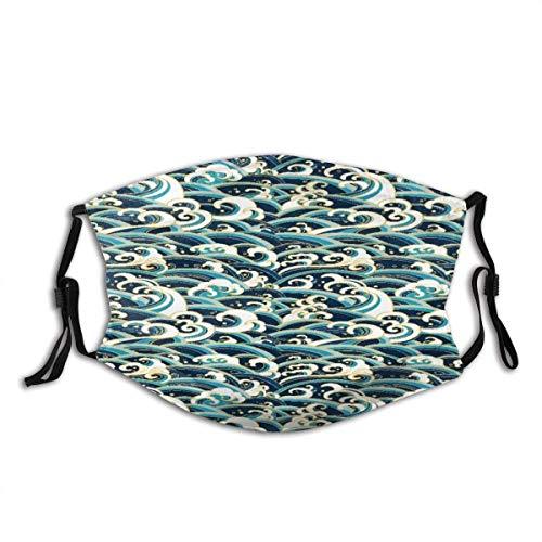Face Guard Mundschutz Nautical Area Rug Traditioneller orientalischer Stil Ocean Waves Pattern mit Schaum und Spritzern Bedrucken Sturmhaube mit 2 Filtern