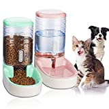 UniqueFit Pets Cats Dogs Automatic Waterer and Food Feeder 3.8 L with 1* Water Dispenser and 1 * Pet Automatic Feeder (pink+Green)