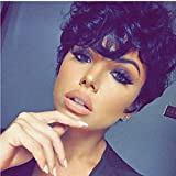 AIWEISE Short Curly Wigs for Black Women Short Black Pixie Cut Wigs African American Black Curly Wigs