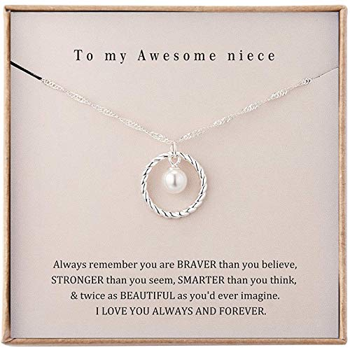 Famdecor Niece Gifts from Auntie Niece Necklace Sterling Silver Niece Gifts from Aunt Niece Birthday Gifts