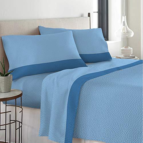Set Completo Letto Lenzuola 100% Cotone Stampato Made in Italy Dis Micron Una Piazza E Mezza Azzurro