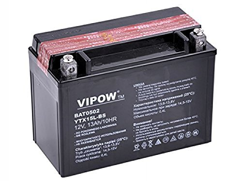 Vipow Akku Batterie 12V 13Ah MC Batterie für Motorrad, mit Säure, 12 V 13 Ah