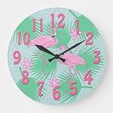 Mariisay Reloj De Pared Redondo Motivo Chic Casual De Madera Flamenco Tropical 30 5 Cm Reloj De Pared Antiguo Diseño Vintage Estilo Moderno De Sala De Estar Rústico (Color : Colour, Size : Size)