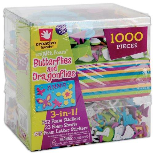Fibre Craft 3-in-1 Foam Kit, Butterflies/Dragons, 1000 pcs