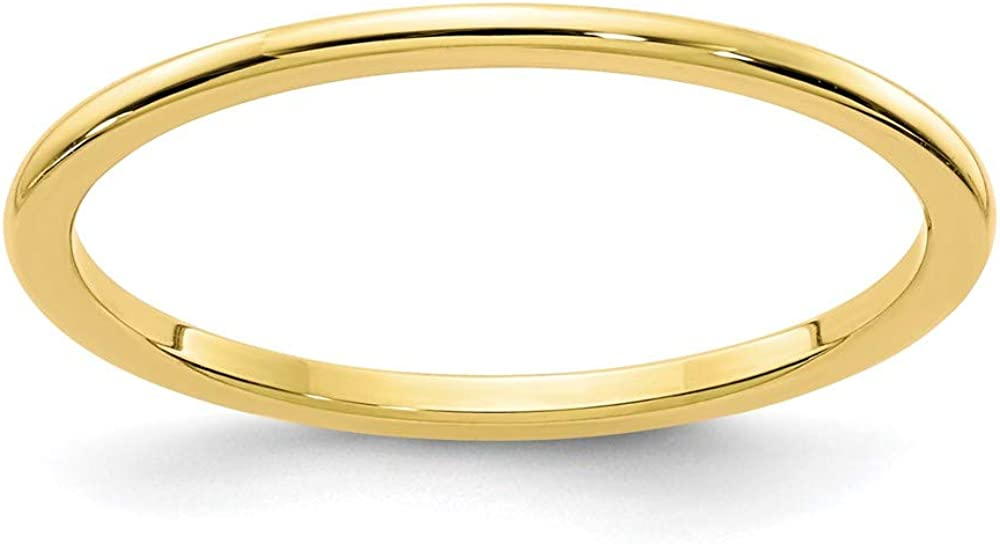10k Gold 1.2mm Half Round Stackable Wedding Ring Band Size 6.50 Classic Fine Jewelry For Women Gifts For Her