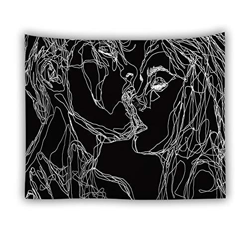 Luofanfei Wandteppich Psychedelic Abstrakte Malerei Gedruckt Hausdekor Tuch Wandtuch Wandbehang Schwarz 200X150cm