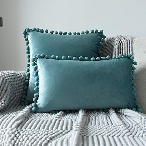 INMOZATA 2 Pieces Cushion Pads with Cushion Cover 30 x 50cm Teal Tassel Cushion Inserts Soft Velvet Polyester Pillow Cushion Filler for Bed Chair Sofa (12x20 inch)