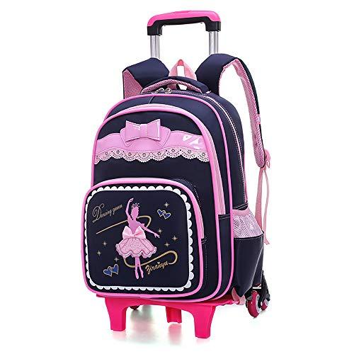BAACD Schulranzen Rucksack mit Rollen für Mädchen 7-10 Jahre alt Kinder wasserdicht und leicht Klasse 2-5 Grundschule Schülerrucksack Pink, Schwarz