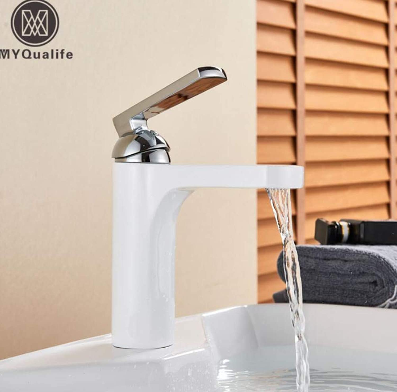 Faucet Wash Basin White Paint Basin Faucet Deck Mounted Brass Short Bathroom Mixer Tap Single Handle Hot Cold Mixer Crane Deck Mounted Water Tap
