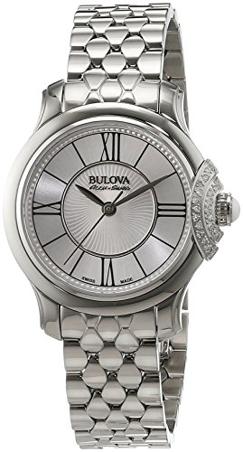 Bulova Accu Swiss Bellecombe-Orologio da donna al quarzo con Display analogico e cinturino in acciaio INOX color argento 63R143