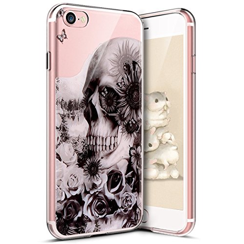 iPhone 7 Funda,iPhone iPhone 8 Funda,Surakey Funda Transparente Suave Tpu Gel Ultra Fina Protección A Bordes Y Cámara Silicona Bumper Crystal Móvil Ultrafina Funda para iPhone 7/8,Cabeza de Calavera