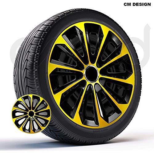 CM DESIGN 4 x 14 Zoll Strong Extra Gold schwarz Auto-Radkappen Radzierblenden