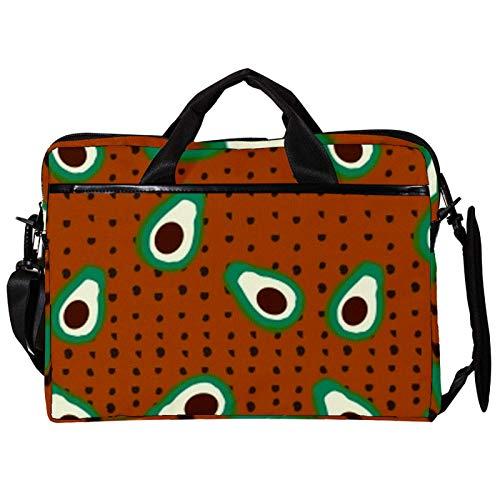 14.5 Inch Laptop Messenger Bag Canvas Briefcase Full Screen Fruit Seeds Satchel Shoulder Bag with Detachable Straps