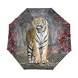 Tiger Red Tree - Paraguas de viaje compacto, para la lluvia, el sol al aire libre, el sol, el coche, el toldo reforzado, protección UV, mango ergonómico, apertura y cierre automático