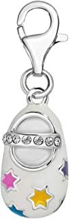 Quiges 925 Sterling Silver White Cubic Zirconia and Enamel Stars 3D Baby Shoe Lobster Clasp Charm Clip on Pendant