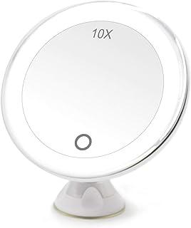 FASCINATE Espejo Maquillaje con Luz LED Aumento 10X Afeitado Aumento con Luz, Espejo Aumento LED Cosmético con Ampliación ...