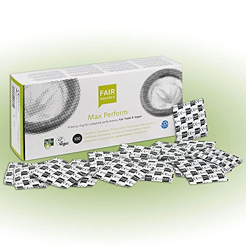 FAIR SQUARED Max Perform Kondome 100 Box 52 mm – Vegane Kondome 100er aus fair gehandeltem Naturkautschuk – Kondom gefühlsecht hauchzart condoms