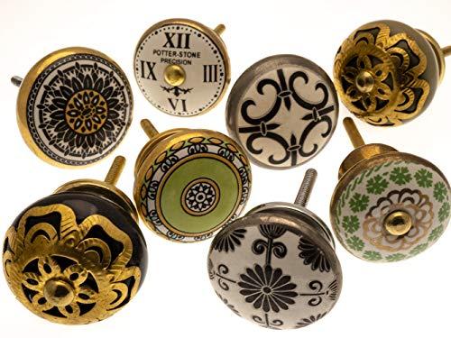 Gemischt Set mit Shabby Chic Vintage Stil Schrankknöpfe aus Keramik x 8 (MG-127) - \'Vintage-Chic\' TM Produkt