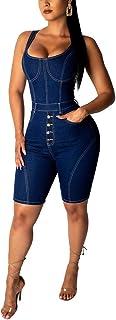 Women's Classic Denim Button Down Sleeveless Short Jumpsuit Rompers Pockets Short Pants Tank Jumpsuits