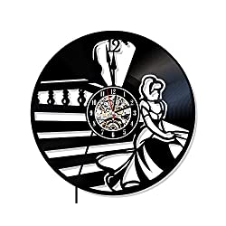 Levescale - Cinderella Vinyl Wall Clock - Exclusive Princess Design - Perfect Disney Gift for Daudhter, Girs Or Friend - Decoration for Bedroom, Play Room - Cartoon Castle Story