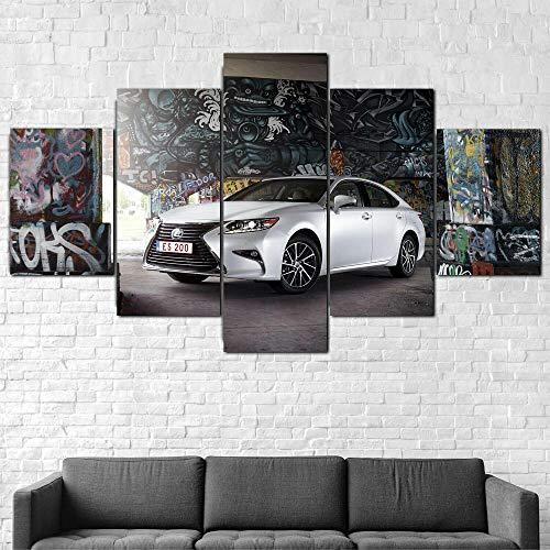 QQWW 5 Piezas Cuadro sobre Lienzo De FotosLexus es 200 Coche de Lujo Lienzo Impresión Cuadros Decoracion Salon Grandes Cuadros para Dormitorios Modernos Mural Pared Listo para Colgar