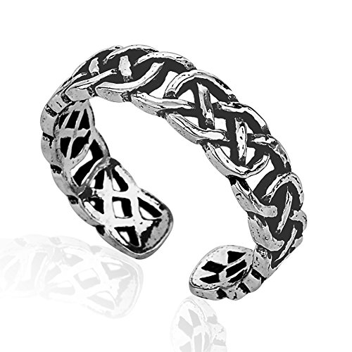 925 Sterling Silver Simple Symbolic Pattern Celtic Knot Open Ended Band Toe Ring