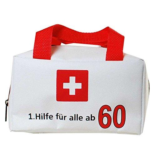 60 Geburtstag Scherzartikel Geburtstagsgag Tasche mit Aufschrift 1.Hilfe für alle ab 60 Geburtstagsgeschenk zum 60. Geburtstag Dekoration zum 60er Geburtstag Party oder andere Anlässe