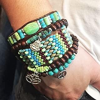 Beaded Cuff Bracelet Set Peyote Stitch & Mala bracelet Set of 5 – Pantone Greenery Kale Lapis – Mother Earth collection