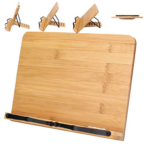 KANINO Leggio Libri in bambù Pieghevole, Leggio da Tavolo per Libri, Porta Libri in Legno, per iPad, Tablet